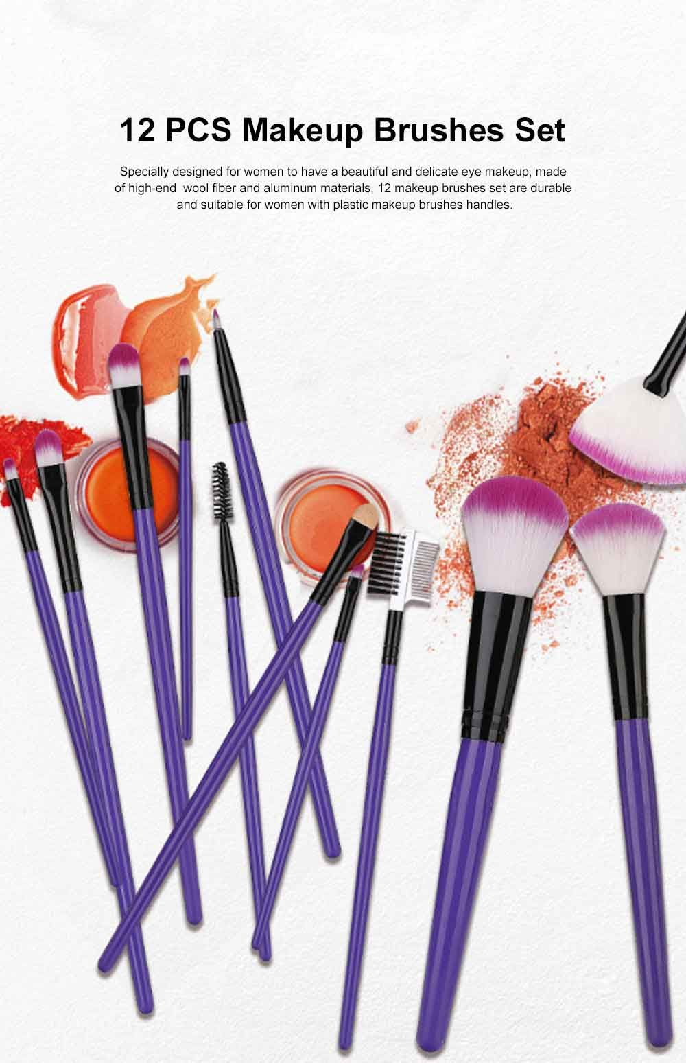 12pcs Makeup Brushes Set Makeup Brushes For Eye Shadow Concealer Eyeliner Brow Blending Brush Cosmetic Tool Makeup Brush Set Cosmetic Tools Makeup Brushes