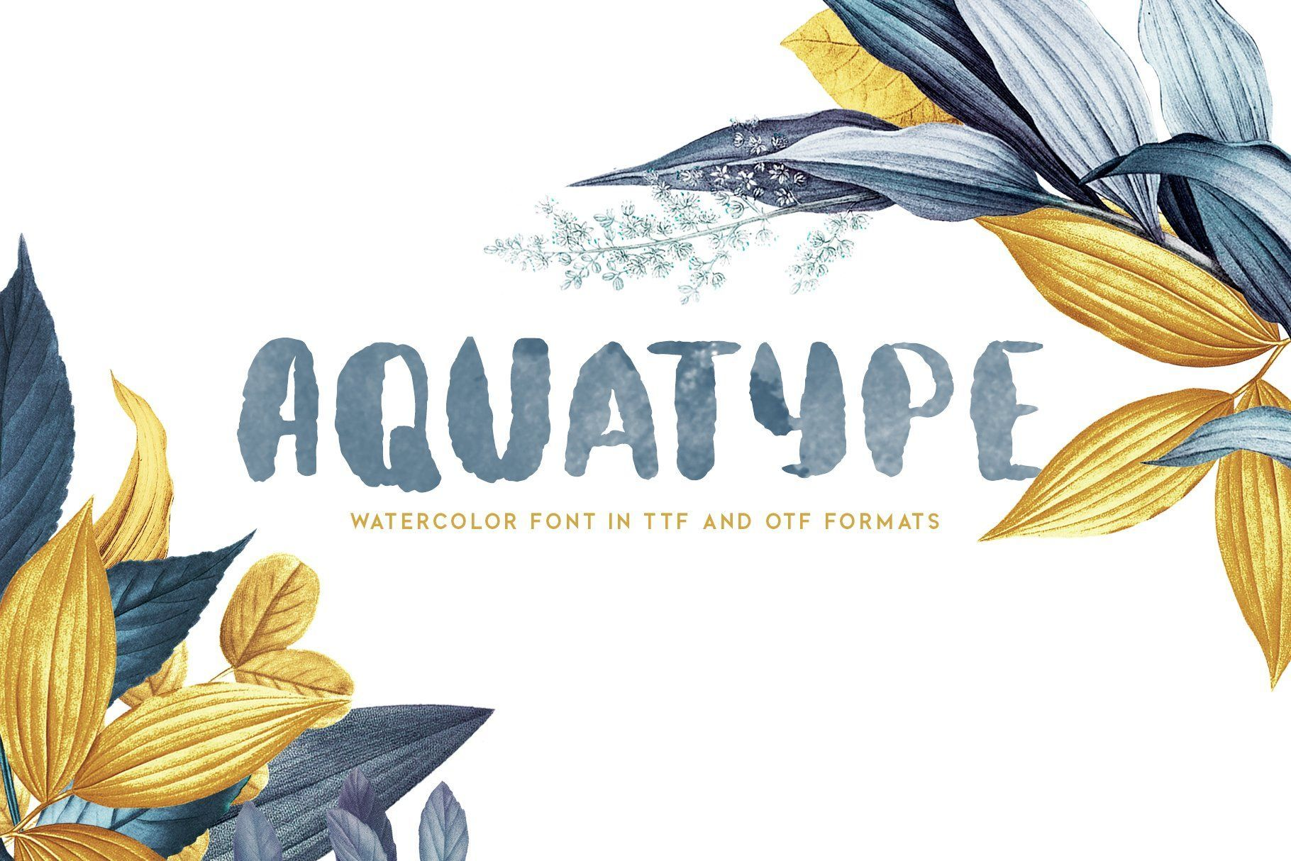 Aquatype Display Watercolor Font Sans Serif Watercolor Lettering