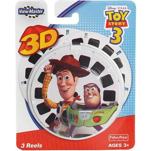 View master schijfjes met weer een hit van Disney Pixar de film Toy story 3, 3 schijfjes met de mooiste en leukste momenten uit de film met jou helden.  http://www.worldoftoys.nl/speelgoed/peuters/view-master-3d-kaarten-toy-story3-peuter-speelgoed