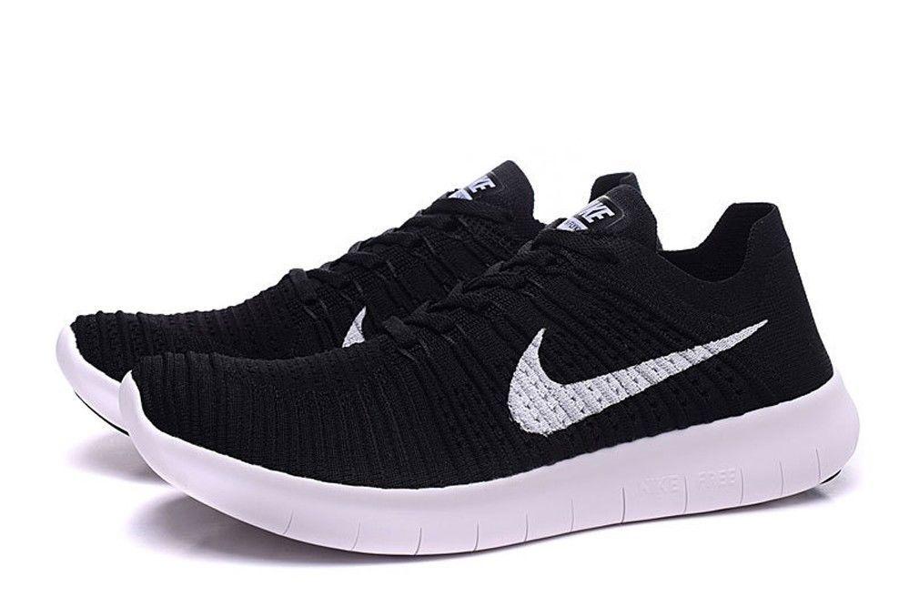 80edc61f5261 Nike Free RN Flyknit Black White Mens Running Sizes 8-13 831069 001 ...
