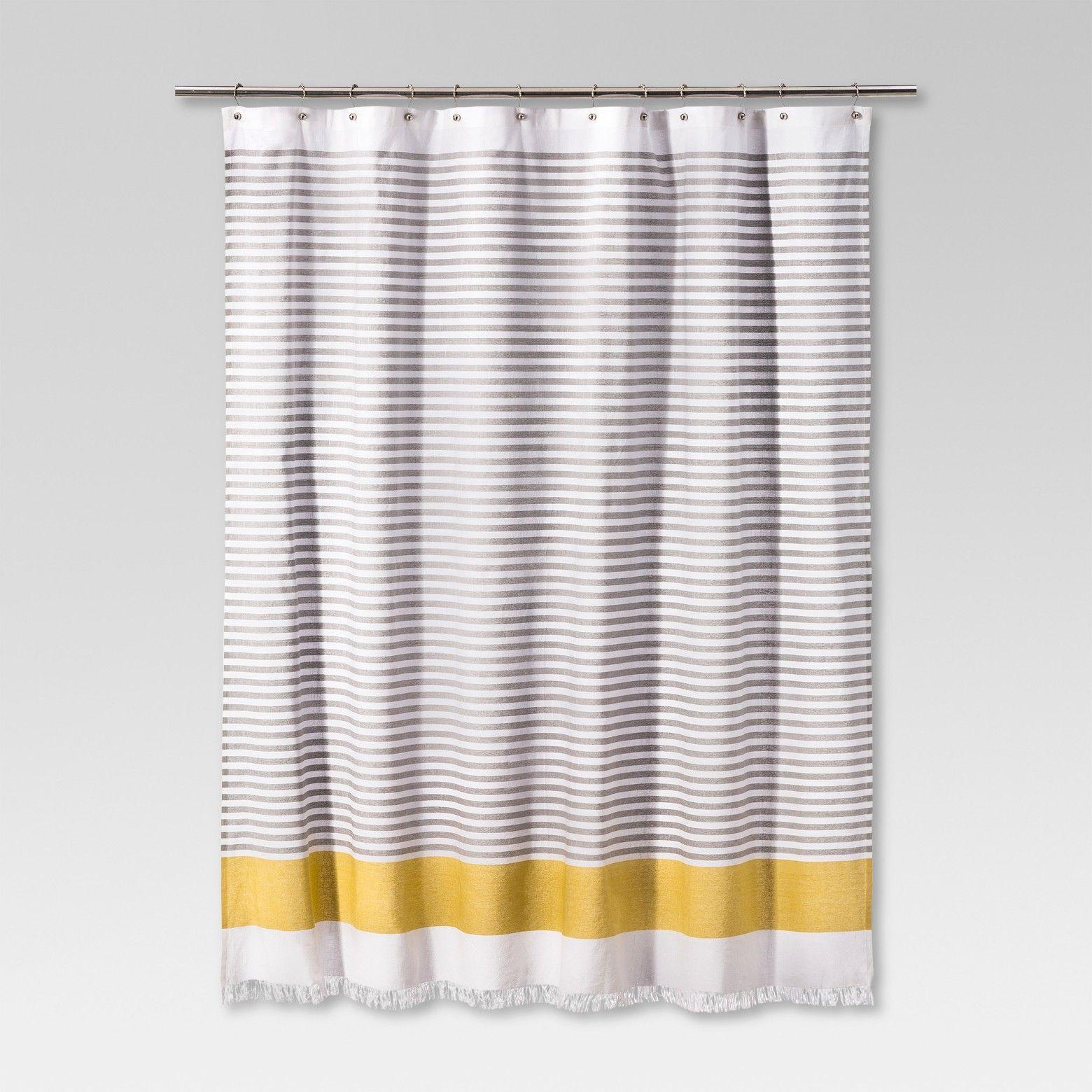 Dyed Shower Curtain Stripe Summer Wheat Project 62 Bathroom Shower Curtains Gray Shower Curtains Yellow Shower Curtains