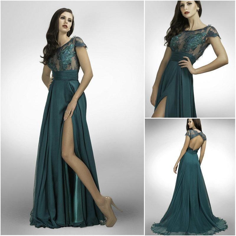 Cheap 2014 Sexy Dark Teal Evening Dresses Bien Savvy Chiffon Jewel