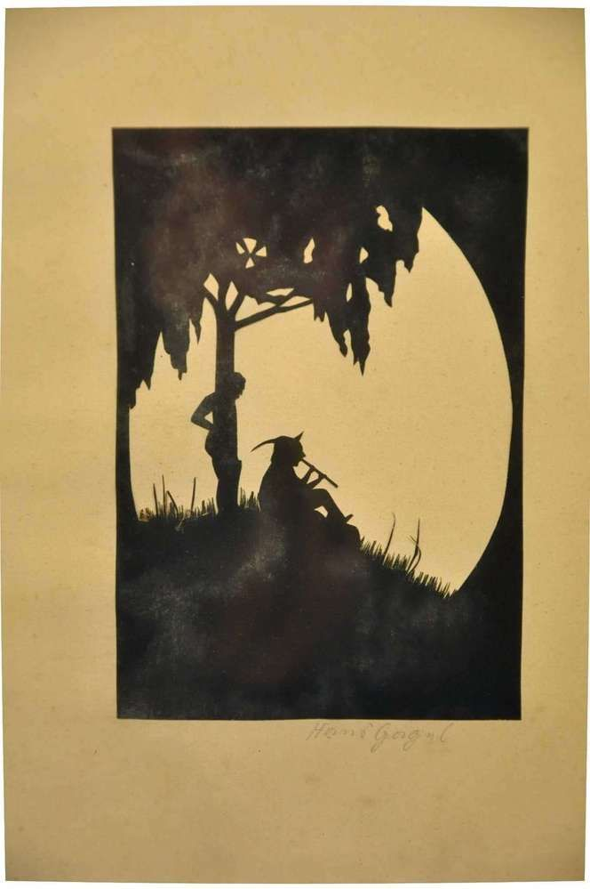 Paper cut silhouette from Hans Gergul flute player around 1920