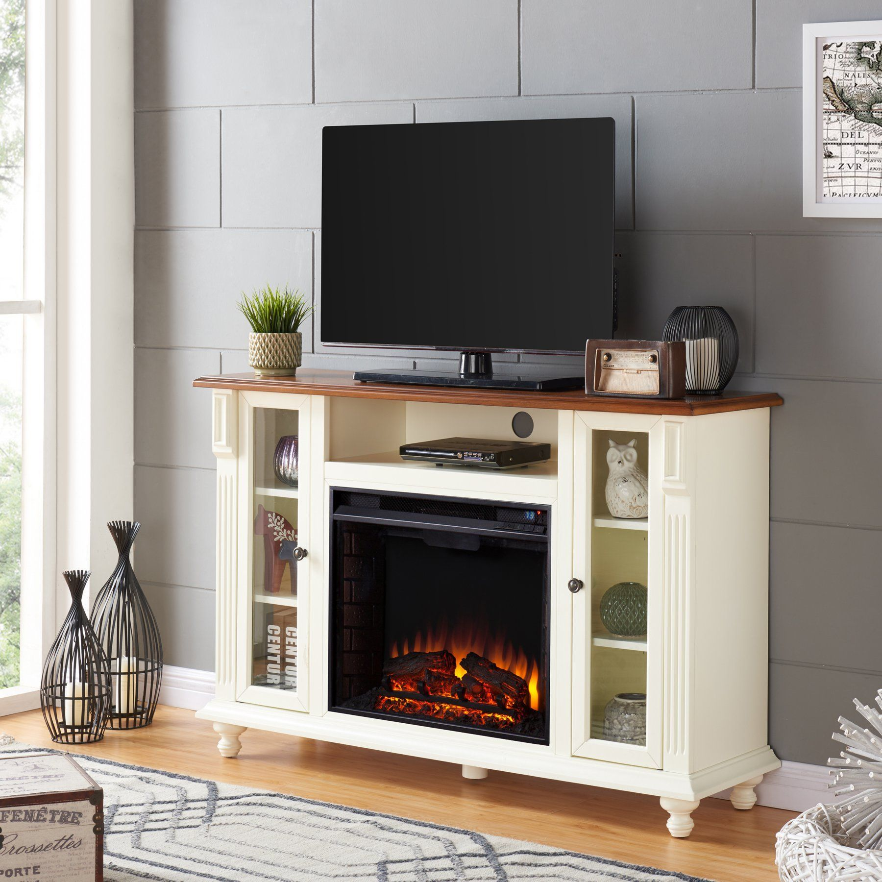 Meuble Tv Infrarouge Southern Enterprises Carlinville Electric Fireplace Tv Stand