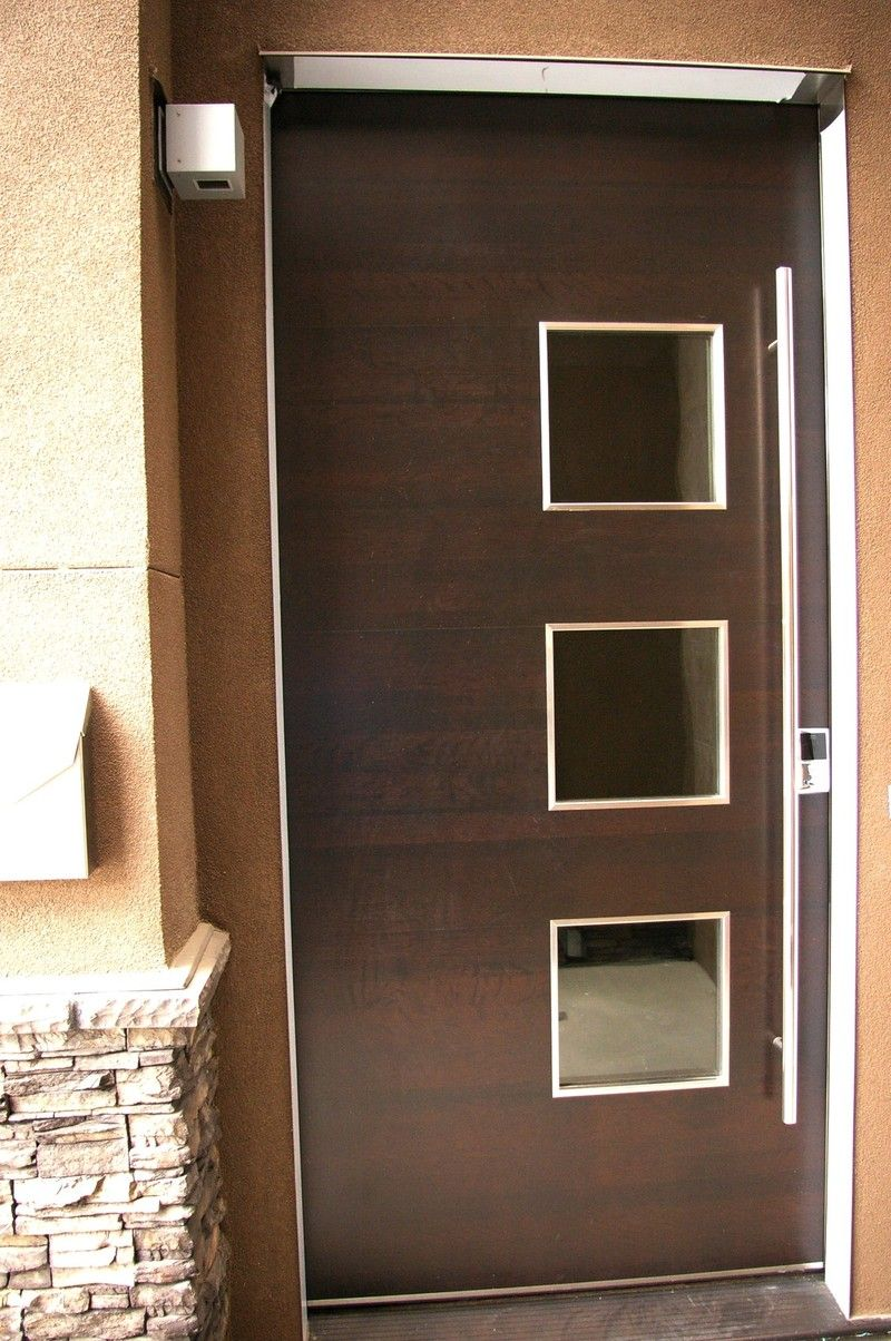 Wood door 3 small cut outs exterior doors pinterest for Small exterior doors