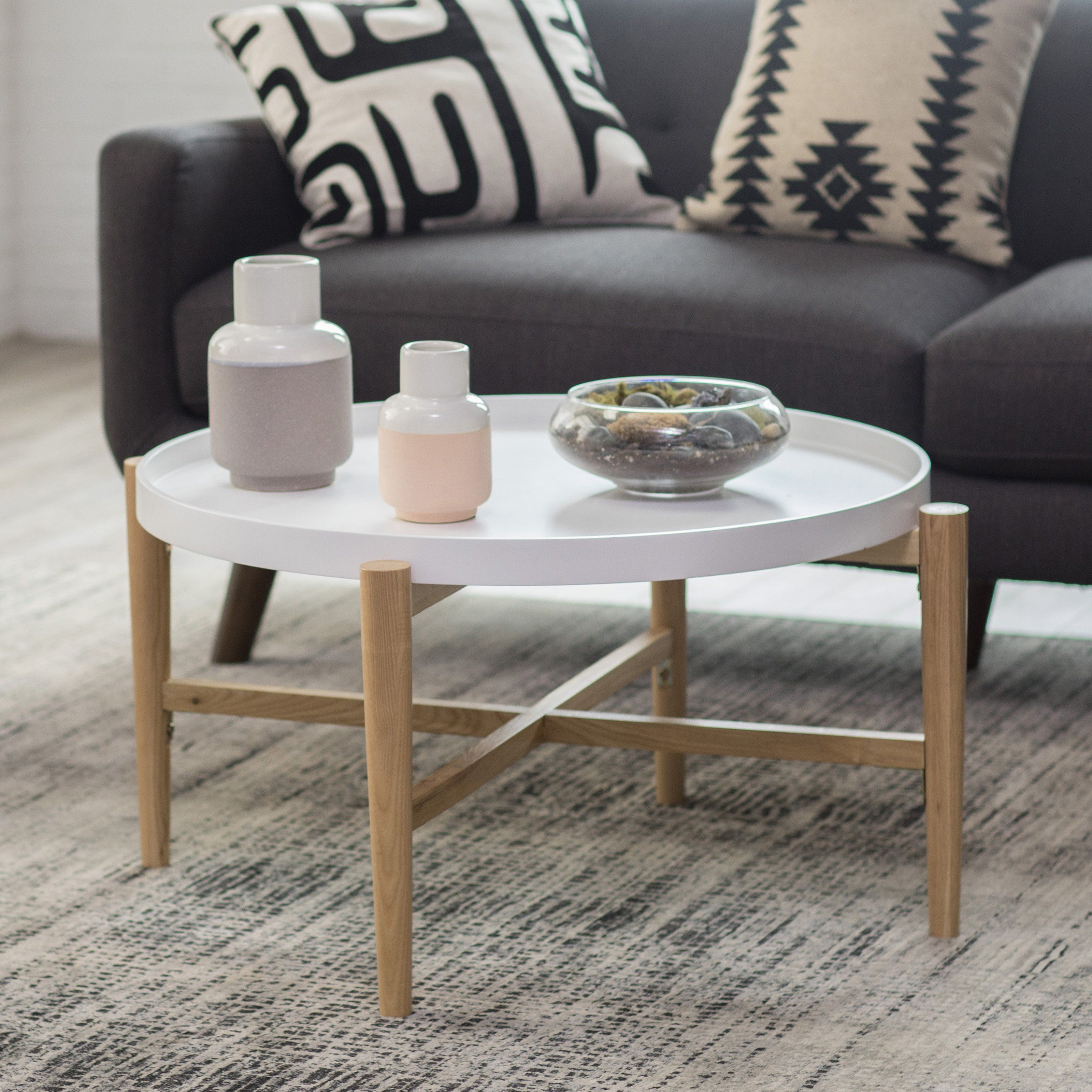 Belham Living Lincoln 2 Tone Tray Top Coffee Table White