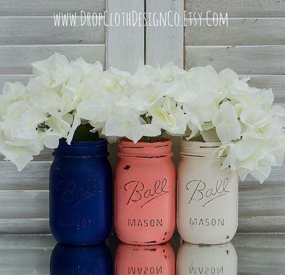 Mason Jar Home Decor Coral Navy Cream Painted & Distressed Mason Jars  Home Decor