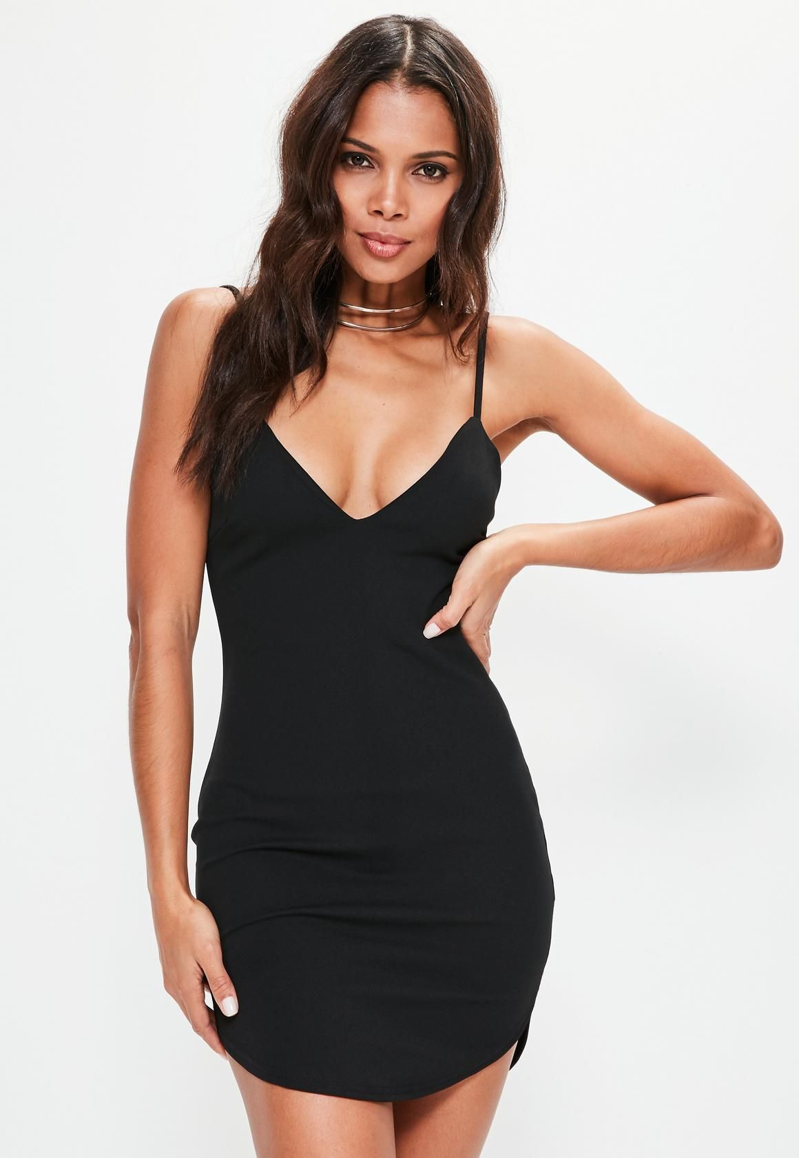 Missguided - Black Strappy Plunge Bodycon Dress