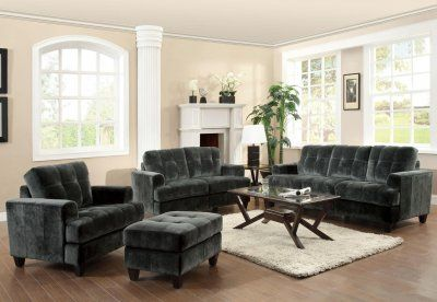 500521 Hurley Sofa by Coaster in Charcoal Fabric w/Options . $559 & Ship