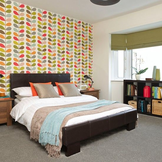 Bold Bedroom With Patterned Feature Wall Bedroom