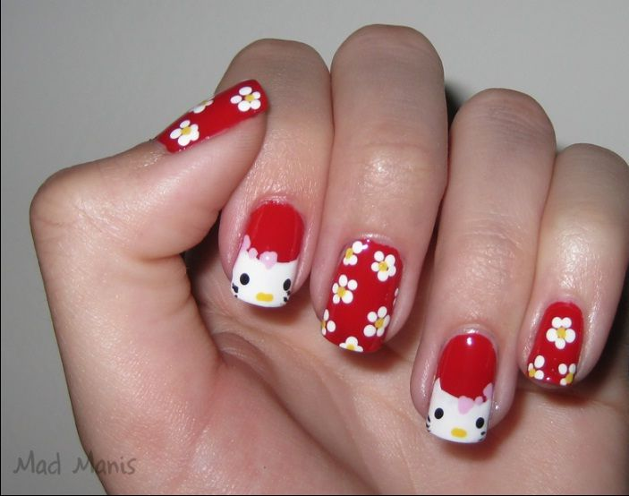 Hello Kitty Nail Designs Red And White Floral Hello Kitty Nails