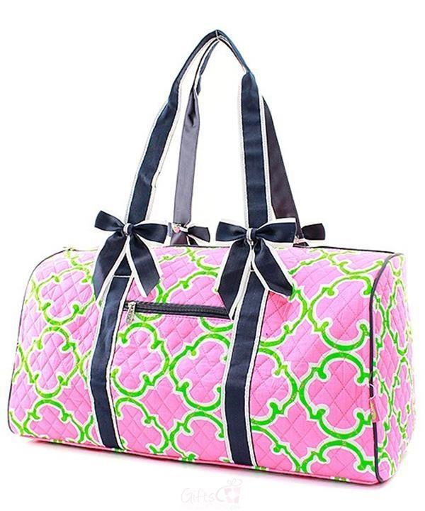 d8ffc4863e Personalized Large Quilted Duffel Bag - many cute stylish patterns with an  embroidered monogram or name. We can t say how much we love this duffle!