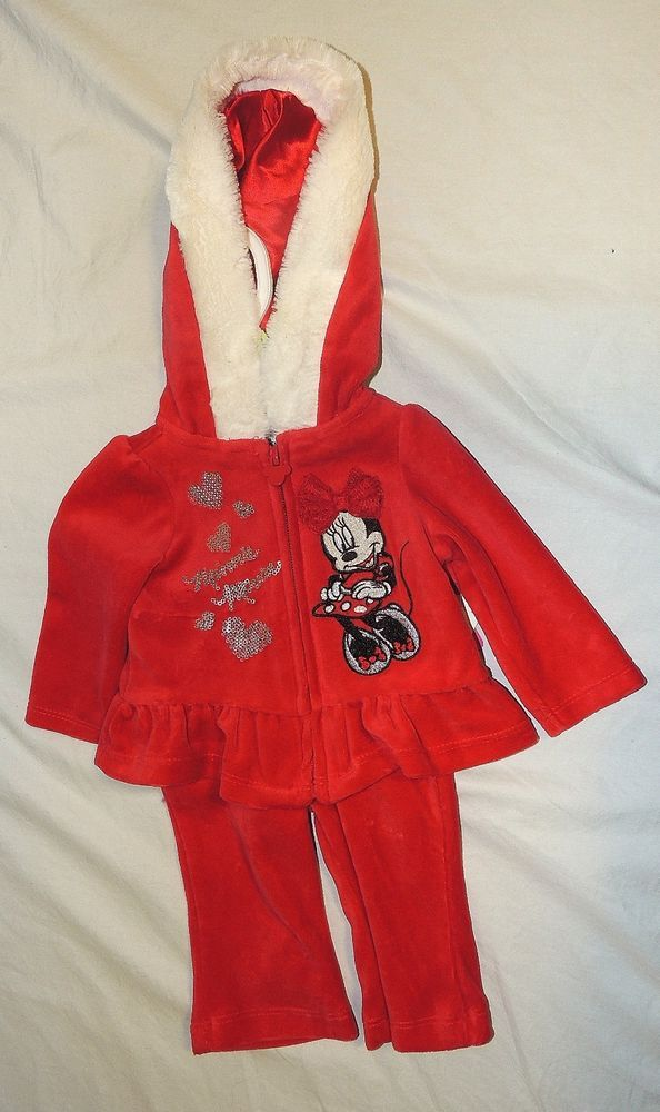 New Disney Baby Girl Minnie Mouse First Christmas Outfit Santa Size ...