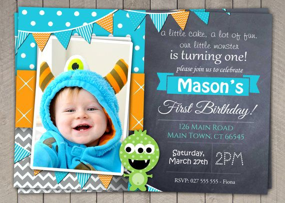 Boys St Birthday Invitation DIY Printable Monster Download - Digital first birthday invitation