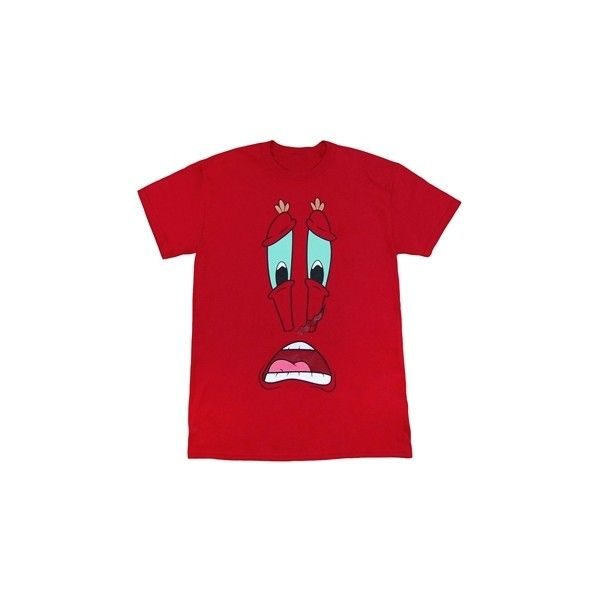 7fc726a844ce Spongebob Mr Krabs Big Face T-Shirt ($2) ❤ liked on Polyvore featuring  tops, t-shirts, red tee, red top and red t shirt
