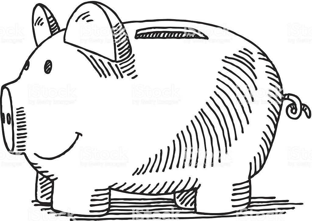 Hand Drawn Vector Drawing Of A Piggy Bank Black And White Sketch On Drawings Piggy Bank Vector Drawing