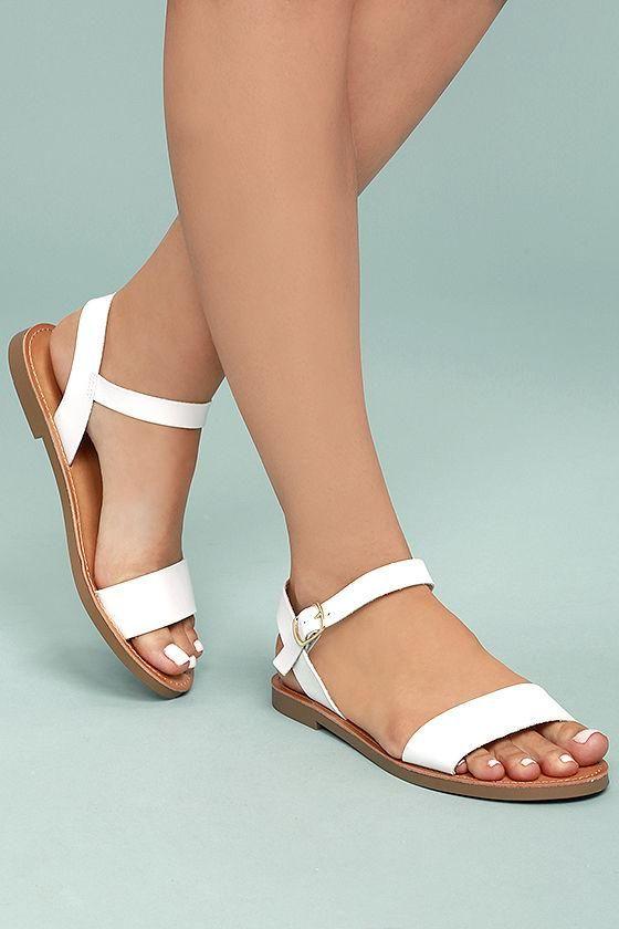 84045e81c67  AdoreWe  Lulus Lulus❤️Designer Footware Kamalei White Flat Sandals -  AdoreWe.com