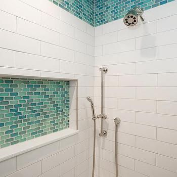 turquoise blue and aqua blue glass shower tiles in 2019
