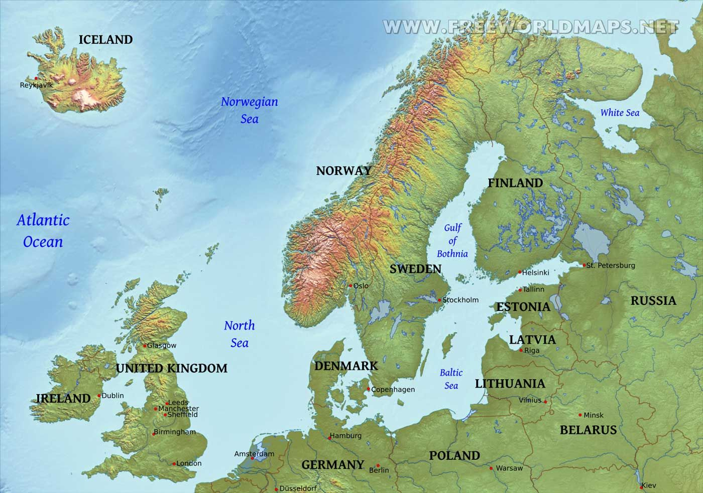 Northerneurope Physical Map Valid Maps European Physical