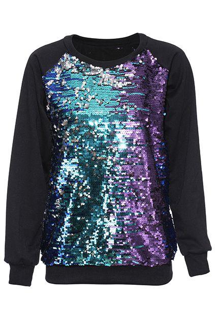 ROMWE | Rainbow Sequined Sweatshirt
