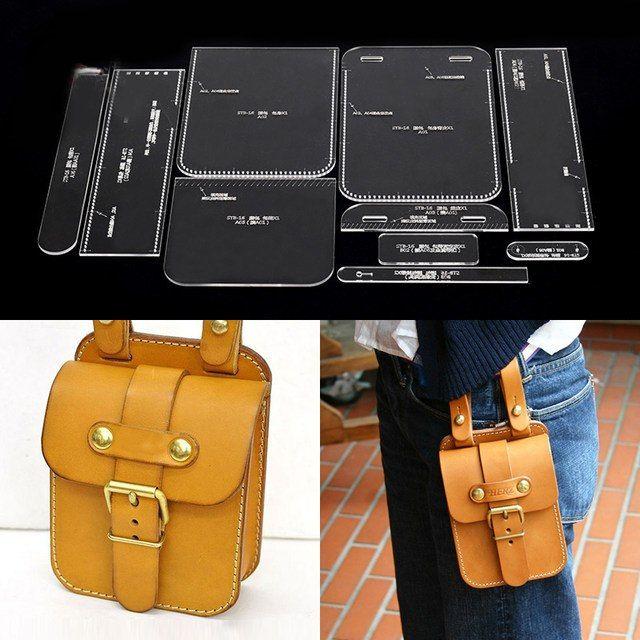Modèle de sac à bandoulière Handmamde motif en cuir acrylique transparent bricolage passe-temps artisanat en cuir motif de couture pochoirs 13x20x6 cm
