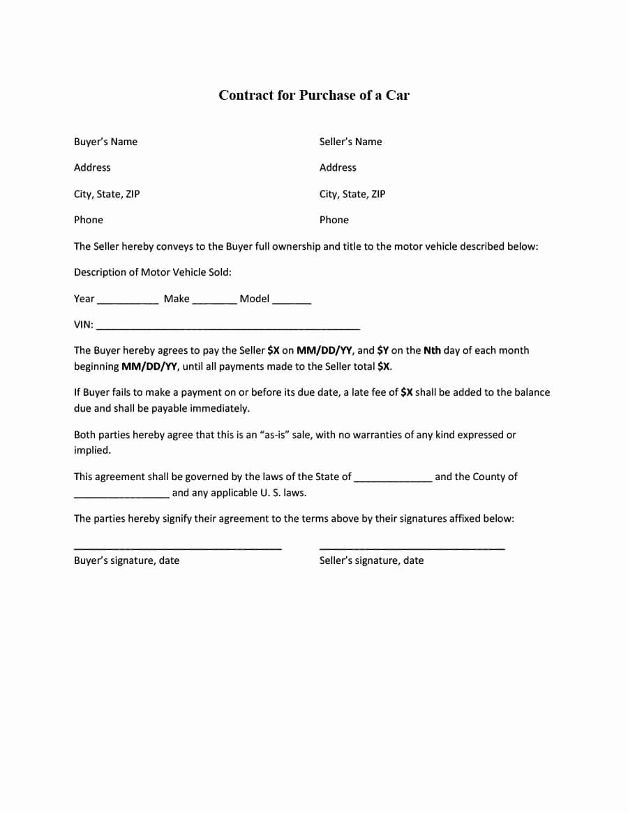 Private Sale Car Payment Agreement New 42 Printable Vehicle Purchase Agreement Templates Car Payment Purchase Agreement Agreement
