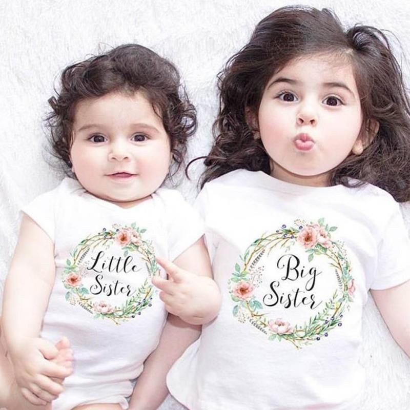 9b40f37d798d Baby Kids Girls Little Big Sister Match Clothes Romper Outfits T ...