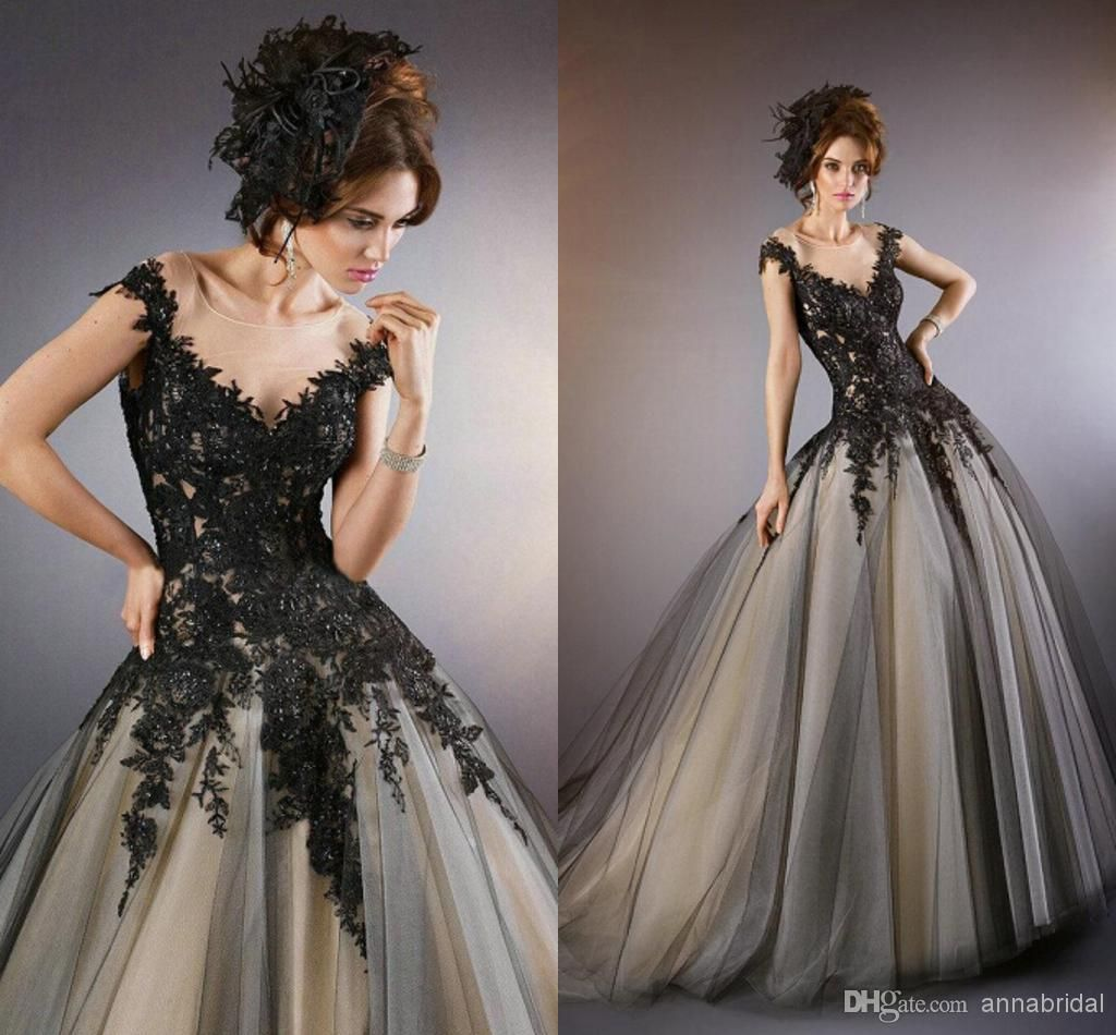Gothic wedding dresses black laceappliques with champagne inside