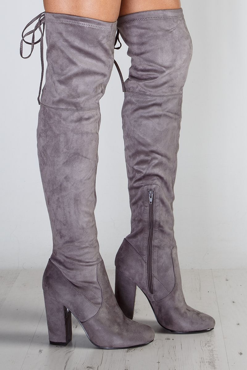 51514920886 Emily Grey Suede Over The Knee Boots at misspap.co.uk