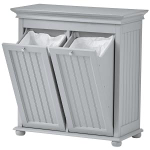 Hampton Bay Dove Grey Double Tilt Out Beadboard Hamper 26 In W