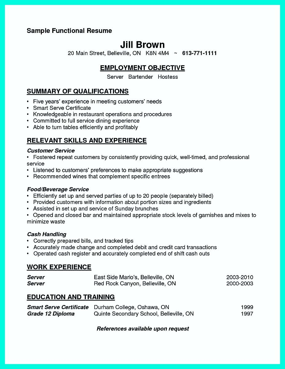 Cocktail Waitress Resume Nice Cocktail Server Resume Skills To Convince Restaurants Or Café