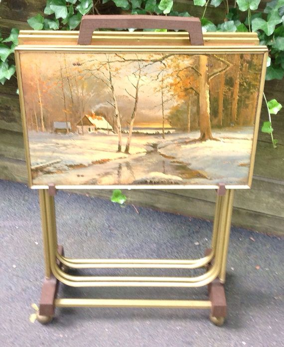 Vintage 50s Set Of TV Trays SIGNED By Robert Wood