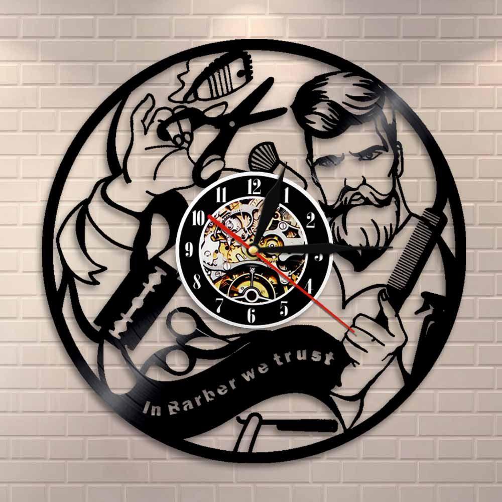صالون حلاقة صامت مسجل فينيل ساعة حائط تصفيف الشعر صالون تجميل متجر ساعة الحائط ديكور في الحلاق نحن نثق تصفيف Illuminated Wall Art Barber Shop Barber Shop Decor