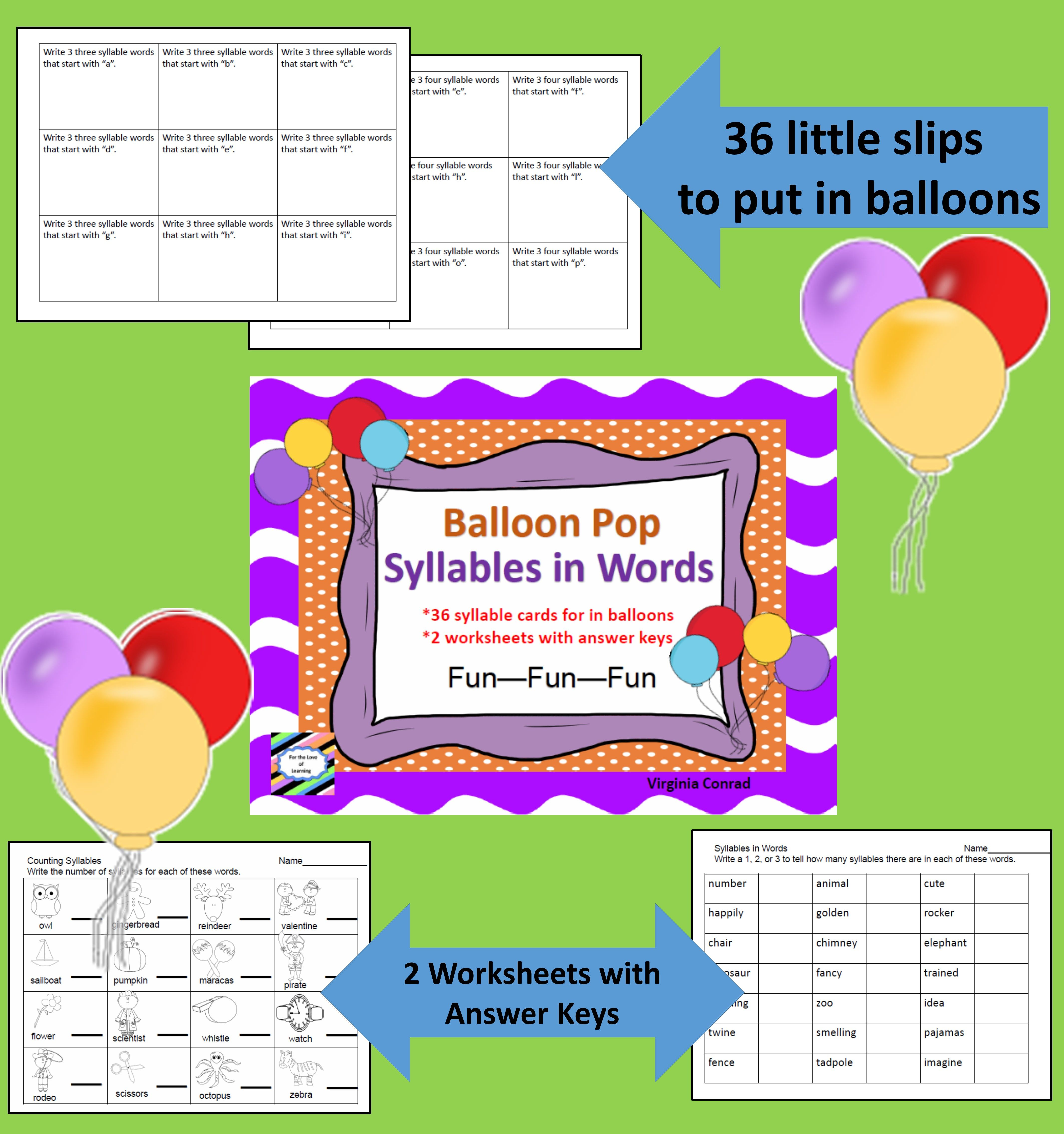 Counting Syllables Balloon Pop