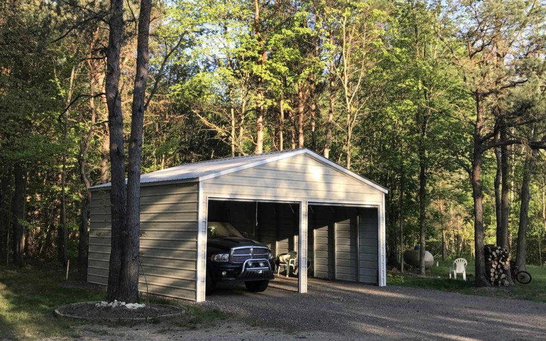 22 x 21 x 9 Metal Storage Garage in Grant, Michigan