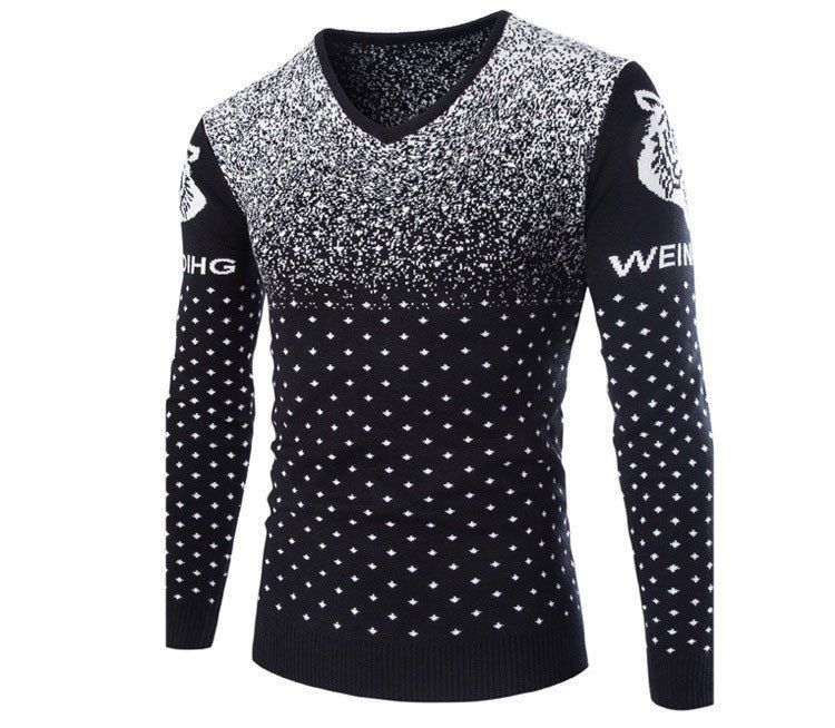 British Style New Fashion Casual Men Pullovers Sweater Tiger Pattern Knit Sweaters