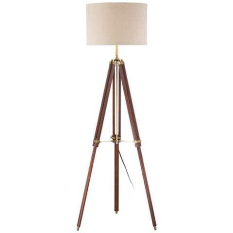 Cherry Finish Wood Surveyor Tripod Floor Lamp - #W1650   LampsPlus.com