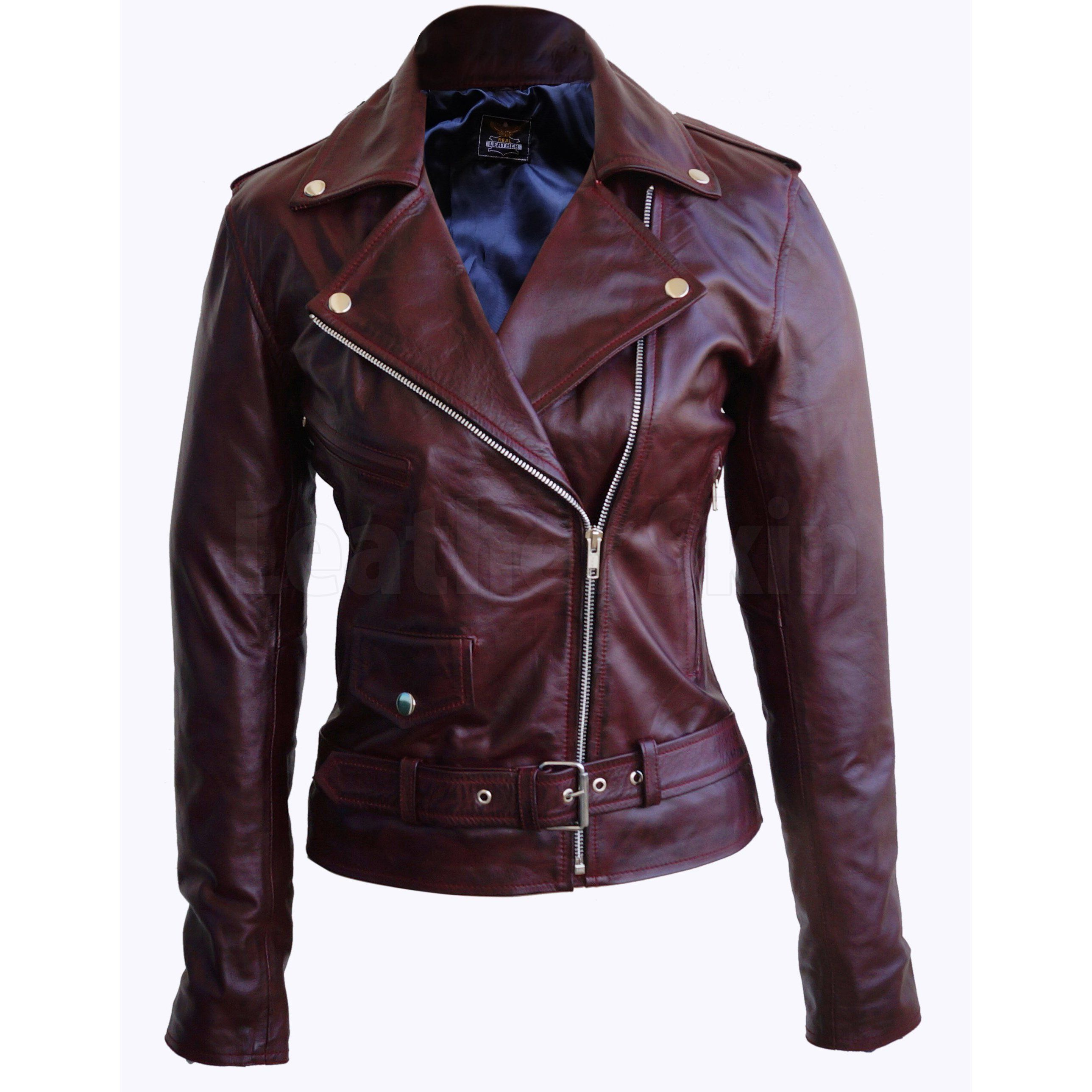 Women Distressed Red Brando Belted Sheep Leather Jacket With Epaulettes Leather Jackets Women Leather Jacket Celebrities Leather Jacket [ 2576 x 2576 Pixel ]
