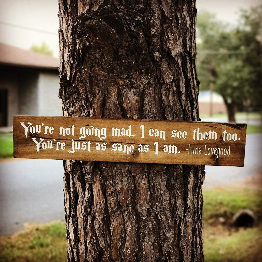 """""""You're just as sane as I am"""" Luna Lovegood Harry Potter sign. Available in our ETSY shop. Find link and coupon on our profile. #luna #lunalovegood #harrypotter #harrypotter #harrypotterworld #rusticchristmas #christmasdecorations #harrypotterchristmas #lunalovegoodquotes #nargles #hogwarts #diagonalley"""