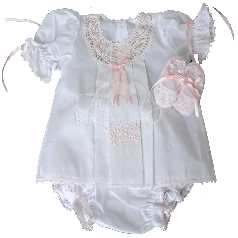 c2d5d8c8fc Vestido renda renascença infantil rosa com calcinha e sapatinho - 3 a 6  meses