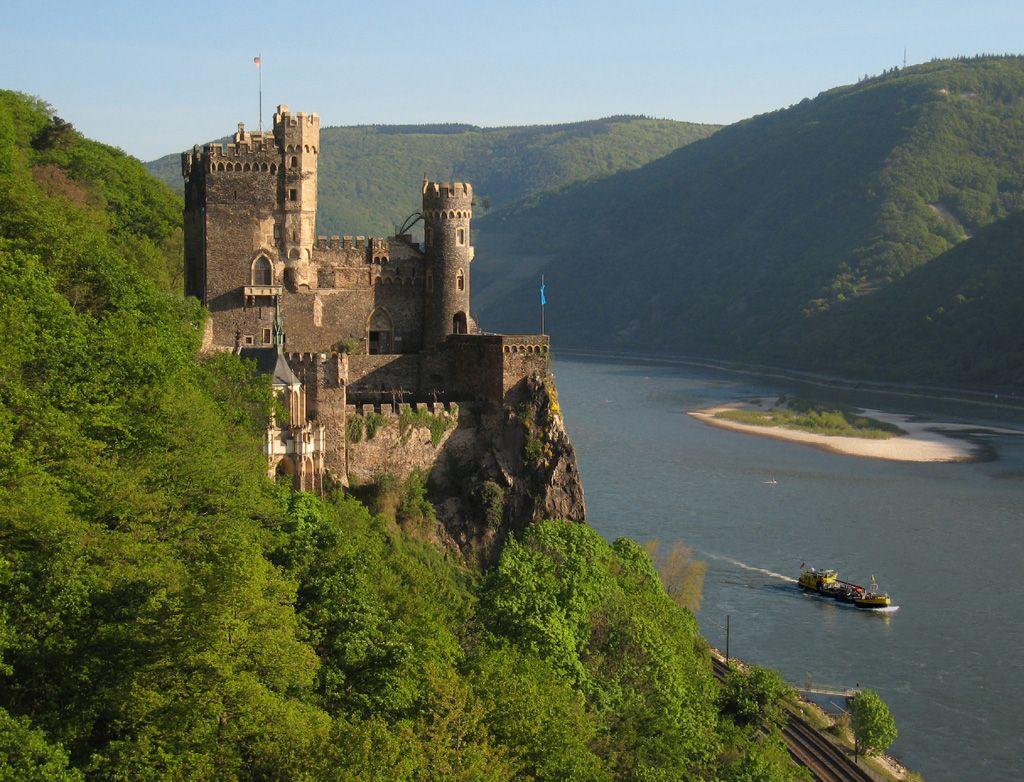 Burg Rheinstein Castle and Rhine River in Germany