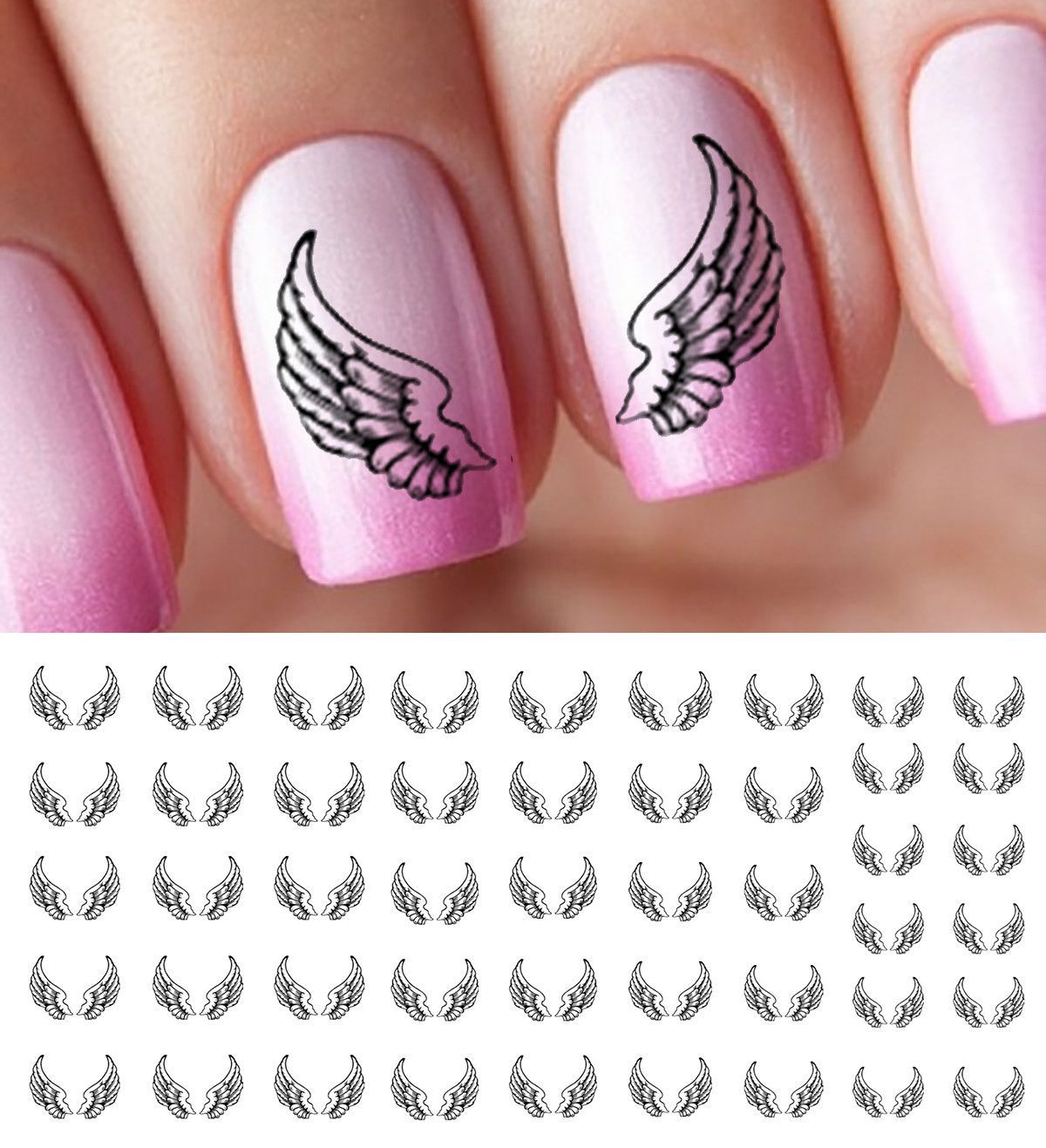 Angel Wings Nail Decals | Nail decals, Angel wings and Ongles