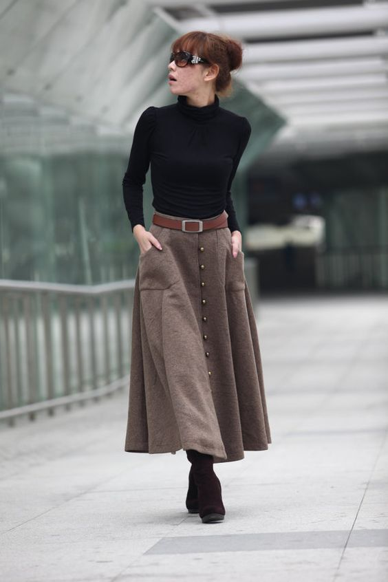 graceful camel wool big sweep maxi skirt with