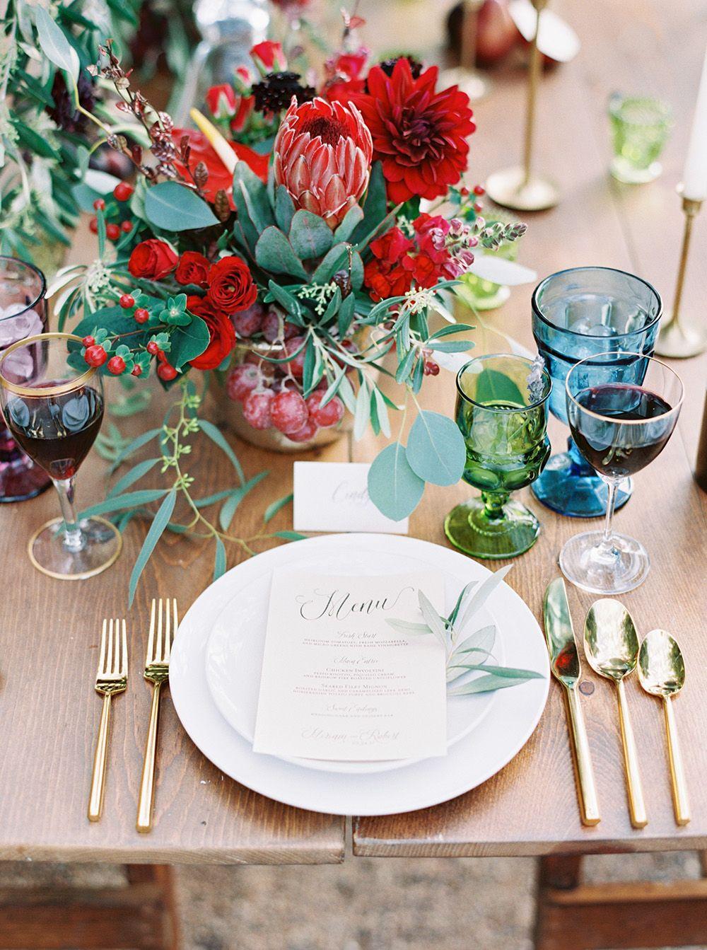 Fruit filled Vineyard Wedding Inspiration Jewel tone wedding Wedding centerpieces Floral