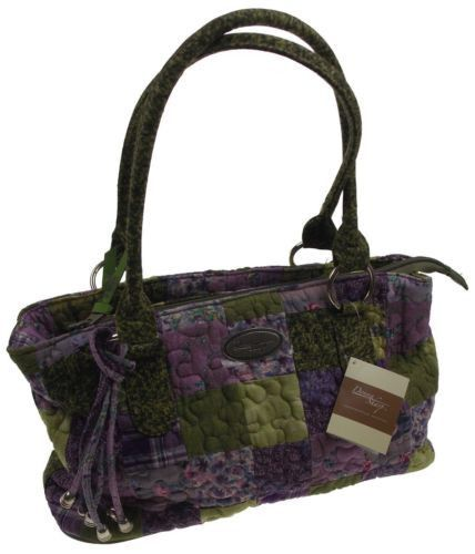 Donna Sharp Grape Patch Reese Purse Handbag Quilted Purple Green Adjustable NEW