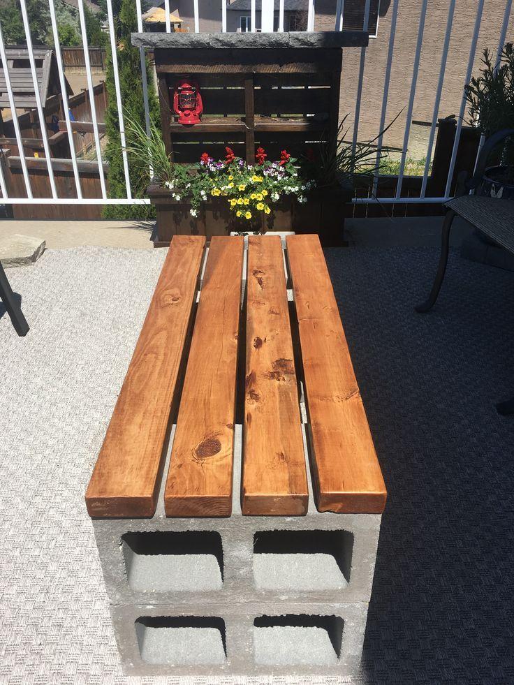 Cinder block outdoor coffee table.