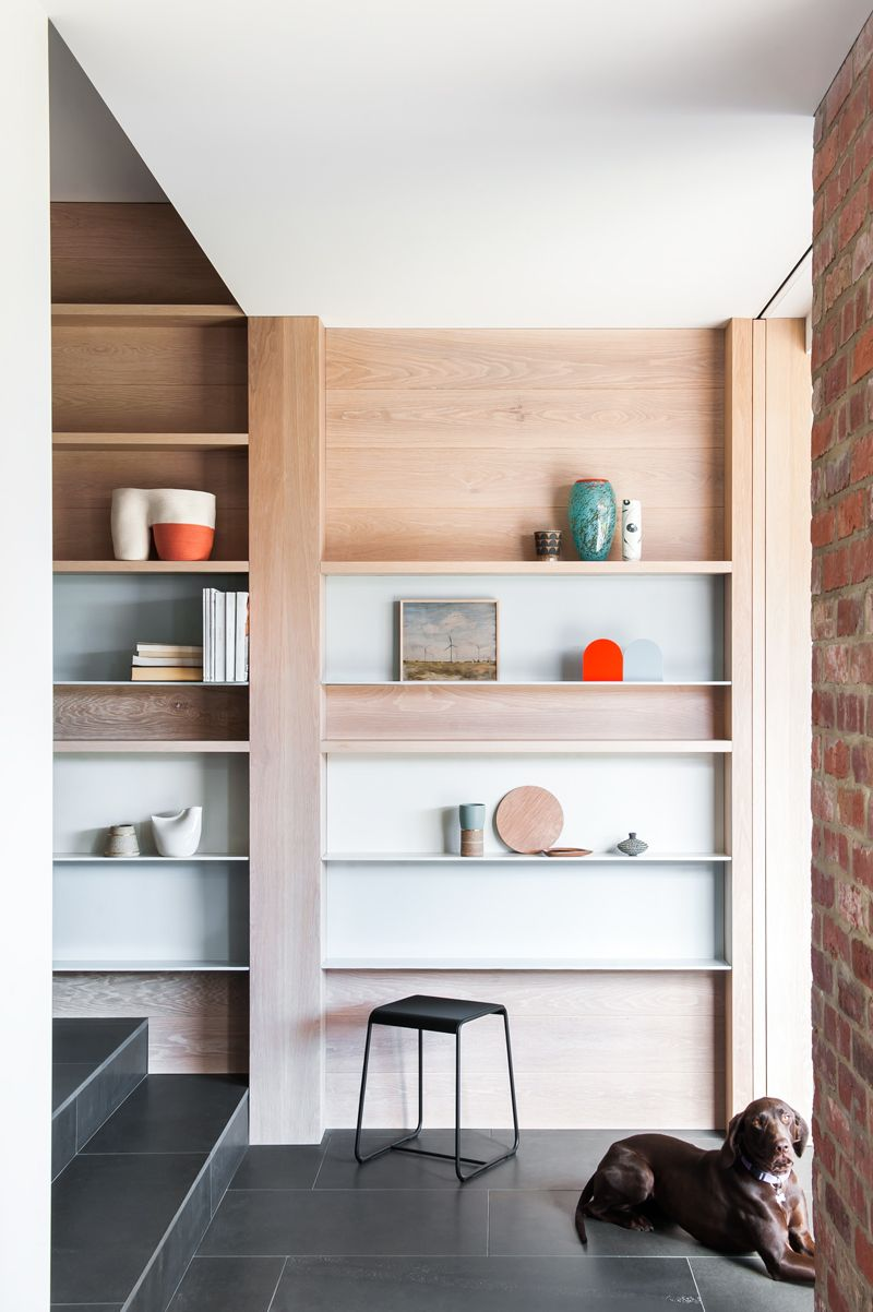 Residential Interior by Fiona Lynch Design Office. Caulfield House / built in shelving / wood