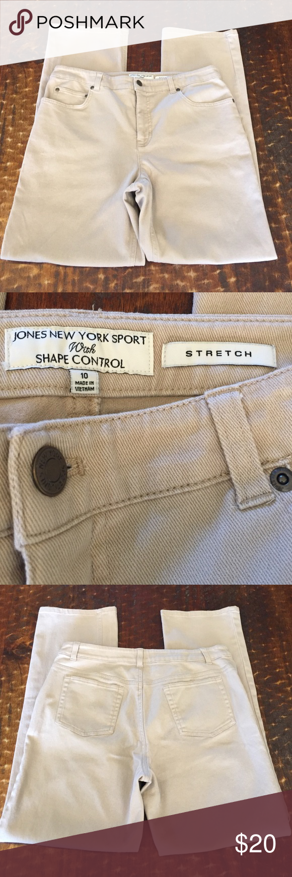 "Jones New York khaki jeans, size 10, 29.5"" inseam Jones New York khaki jeans, size 10, 29.5"" inseam, great condition! Jones New York Jeans Straight Leg"