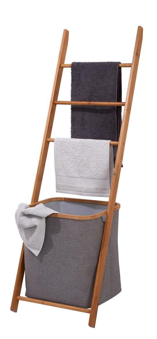 BAMBOO Porte-serviettes avec panier gris, naturel H 139 x Larg 42 x - Porte Serviette A Poser