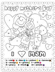 english worksheets happy mother s day coloring by number edukacja mother 39 s day colors. Black Bedroom Furniture Sets. Home Design Ideas